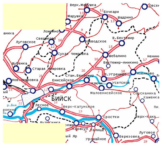 подробная карта бийского